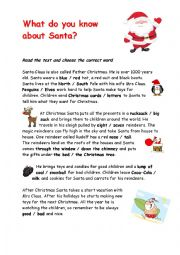 English Worksheet: What do you know about Santa?