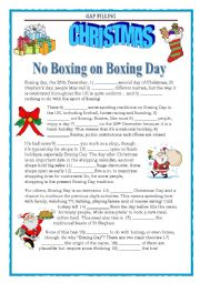 GRAMMAR REVISION - GAP FILLING - NO BOXING ON BOXING DAY - with key