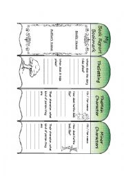 English Worksheet: My Book Report Bookmark