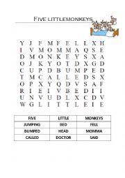English Worksheet: Five little monkeys - wordsearch