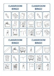 English Worksheet: classroom bingo cards 2/3