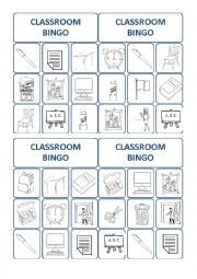 English Worksheet: classroom bingo cards 3/3
