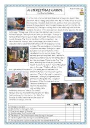 English Worksheet: A Christmas Carol reading and comprhension