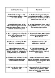 English Worksheet: Puzzle about Martin Luther King and Malcolm X