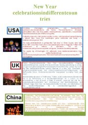 English Worksheet: New Year celebrations in different countries