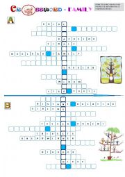 English Worksheet: FAMILY - HALF A CROSSWORD