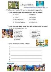 English Worksheet: Leisure activities in Britain (video)