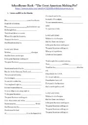 Worksheet adapted to work on the youtube video called The Great American Melting Pot.