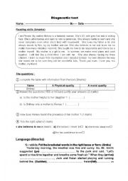 English Worksheet: DIAGNOSTIC TEST FOR 9TH FORM STUDENTS