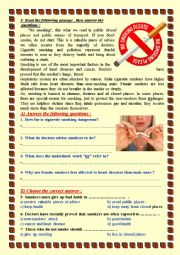 English worksheet: No Smoking