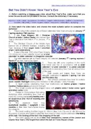English Worksheet: Bet You Didn�t Know: New Year�s Eve