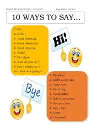 10 ways to say HI and BYE