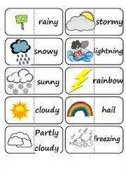 English Worksheet: Weather Domino Game
