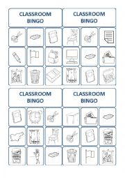 English Worksheet: classroom bingo cards 1/3