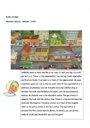 around the town,directions ,reading skills