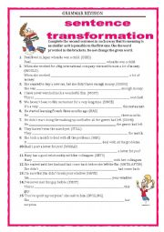 GRAMMAR REVISION - SENTENCE TRANSFORMATION part 1 with key