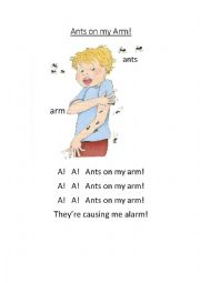 Ants on my Arm - Letter A Worksheet Jolly Phonics