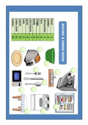 English Worksheet: Kitchen and dining room