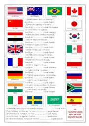 English Worksheet: Countries Nationalities and Flags