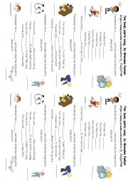 English Worksheet: Body parts song