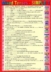 Mixed tenses Present, Past and Future SIMPLE 1 + KEY