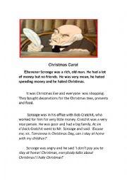 English Worksheet: A Christmas Carol - Reading Activity -