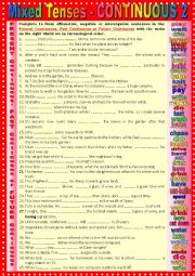 English Worksheet: Mixed tenses Present, Past and Future CONTINUOUS 2 + KEY