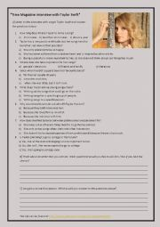 English Worksheet: interview with taylor swift