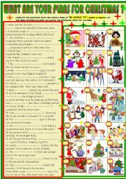 English Worksheet: What are you plans for Christmas; be going to