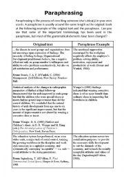 English Worksheet: Paraphrasing Example