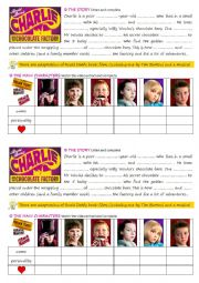 English Worksheet: Charlie and the Chocolate Factory worksheet story and main characters