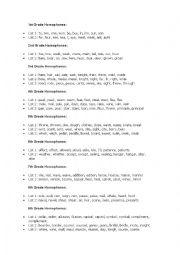English Worksheet: homophones