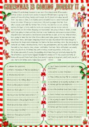 English Worksheet: Christmas is coming: reading comprehension