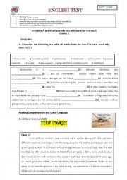 English Worksheet: English test 10th form - The world of teenagers