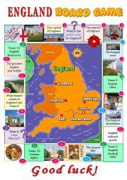 English Worksheet: England board game