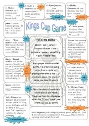English Worksheet: Kings Cup or Circle - Speaking Game