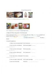 English Worksheet: Grocery Shoping Activity