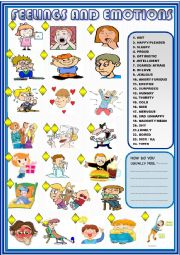 English Worksheet: Feelings and emotions : basic matching for beginners