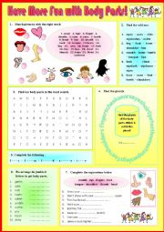 English Worksheet: Vocab - Have More FUN with BODY PARTS - 2 + Key