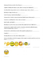English worksheet: Personality features
