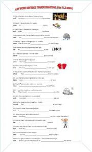 Key word sentence transformations for FCE