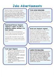 English Worksheet: Job Advertisements