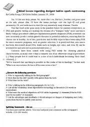 English Worksheet: Reading comprehension - News Article on DESIGNER BABIES + KEY INCLUDED
