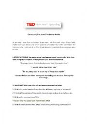 English Worksheet: Ted talk: Connected but alone? (With key)