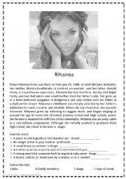 English Worksheet: Rihanna