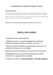 English Worksheet: Mystery: Land degradation due to deforestation