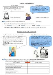 English Worksheet: Introduction indirect/reported speech student�s version