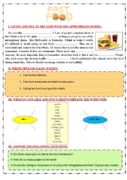 English Worksheet: FAST FOOD: Listening, reading,and writing  activities