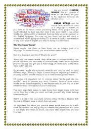 English Worksheet: SWEAR WORDS