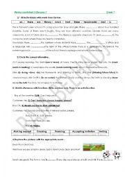 REVISION WORKSHEET  2 module 3 grade 7 Tunisian programme